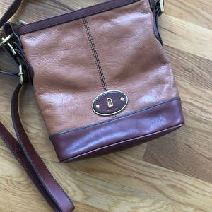 Fossil Leather Block Color Crossbody